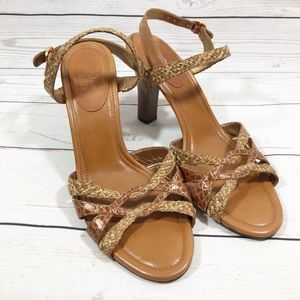 Cole Haan Woven Leather Ankle Strap Heels Sz 8.5B